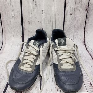 Diesel Step Gear White Navy Leather Sneakers Shoes